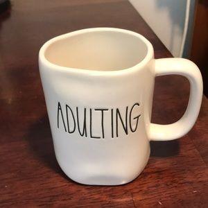 """Rae Dunn """"ADULTING"""" mug."""